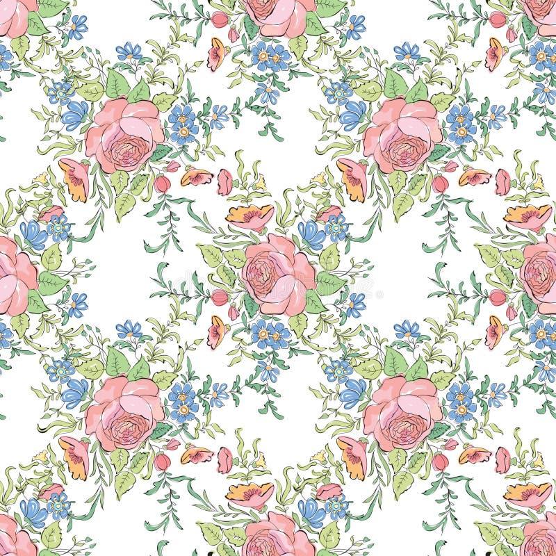 Bloemen naadloze achtergrond Decoratief bloempatroon royalty-vrije illustratie