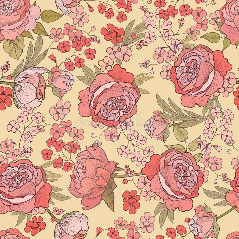 Bloemen naadloze achtergrond Het patroon van de bloem stock illustratie
