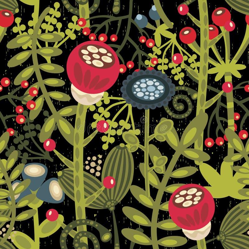 Bloemen naadloze achtergrond met beeldverhaalbloemen. royalty-vrije illustratie