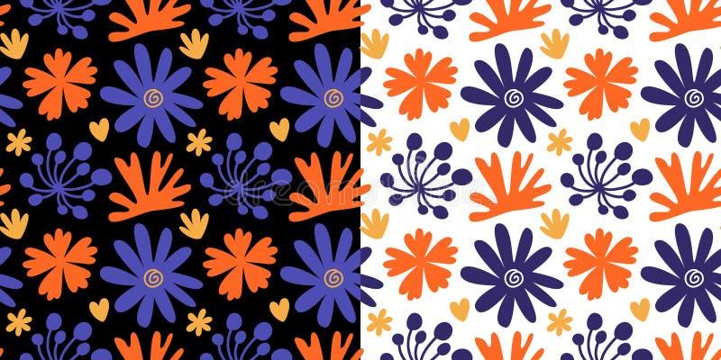Bloemen naadloze die patronen met kleurrijke hand getrokken bloemen worden geplaatst royalty-vrije illustratie