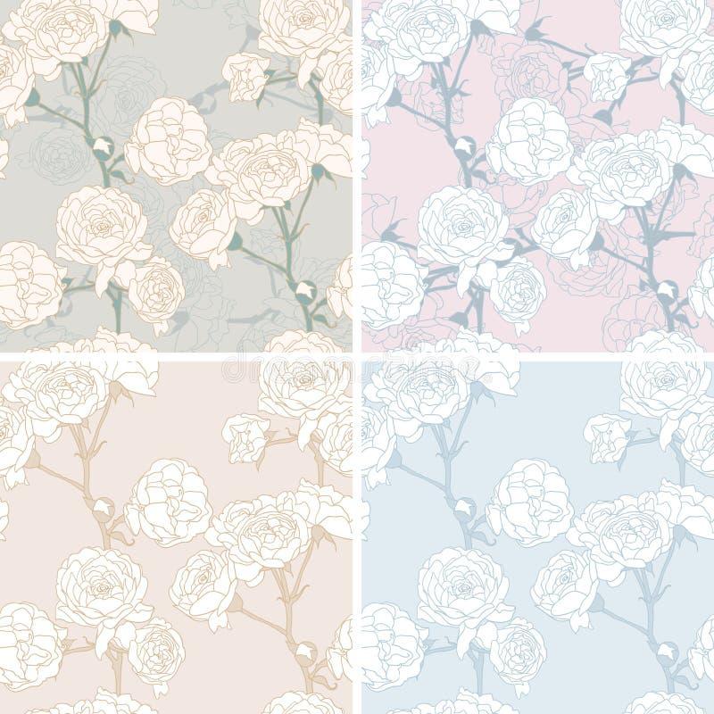 Bloemen naadloze geplaatste pastelkleurpatronen vector illustratie