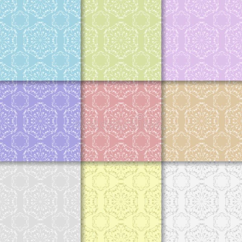 Bloemen naadloze patronen Gekleurde Achtergrond royalty-vrije illustratie