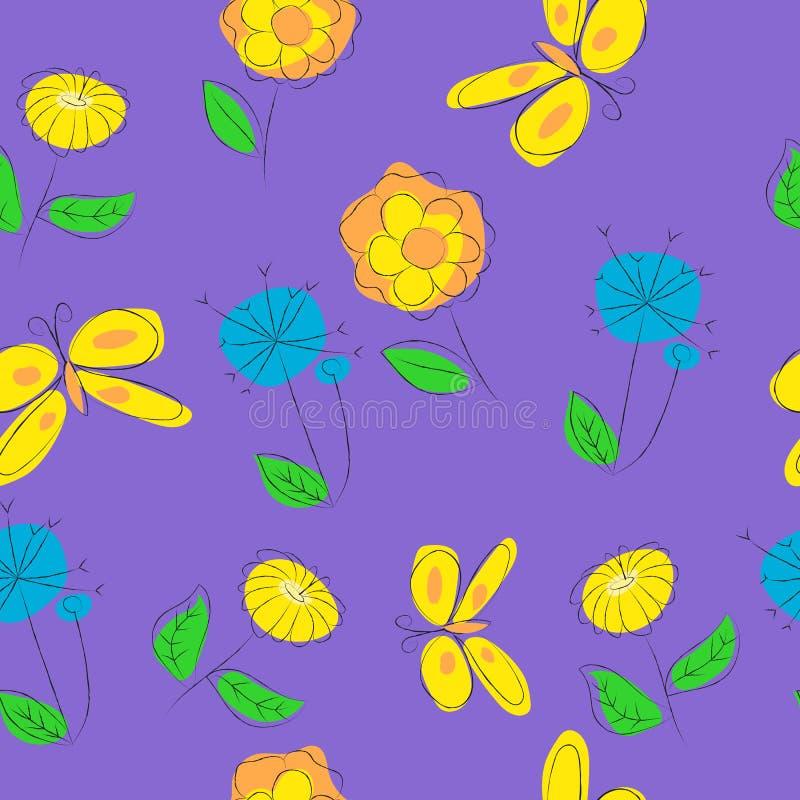 Bloemen naadloze patroonillustratie op purpere achtergrond royalty-vrije illustratie