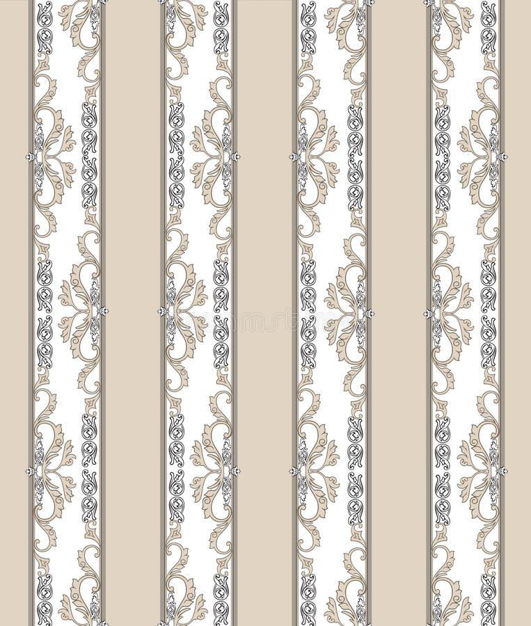 Bloemen naadloze uitstekende achtergrond Gestreepte retro textuur royalty-vrije illustratie