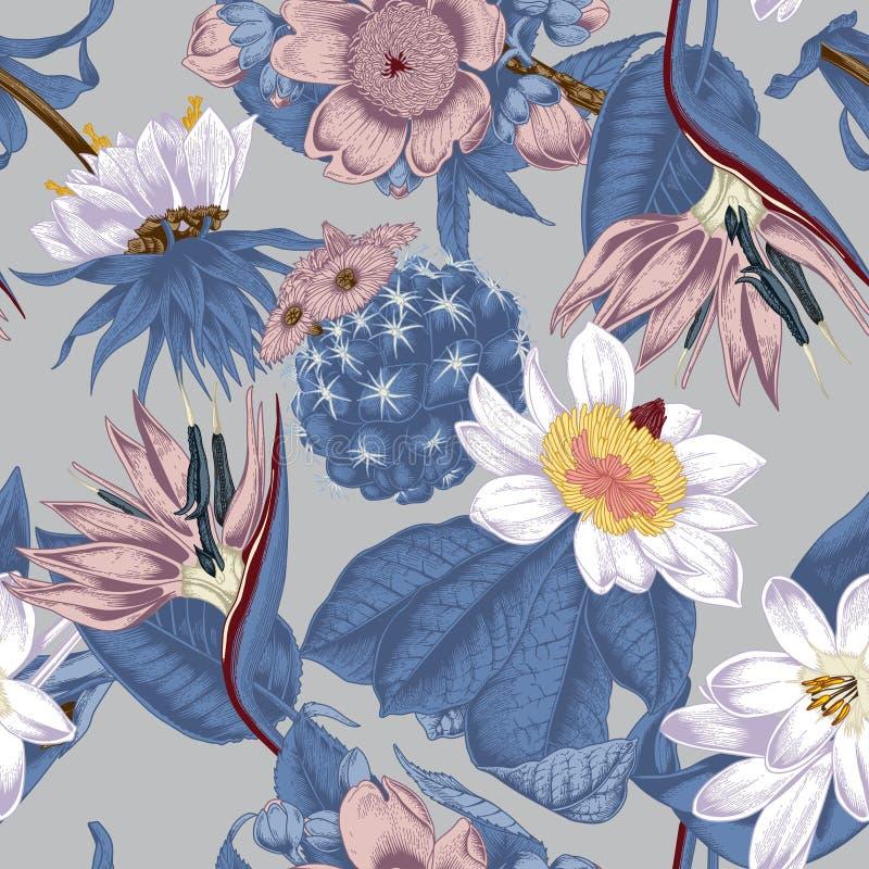 Bloemen Naadloze vectorachtergrond exotica keerkringen royalty-vrije illustratie