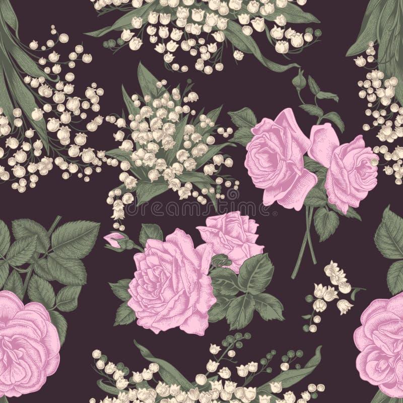 Bloemen Naadloze vectorachtergrond Uitstekende illustratie stock illustratie