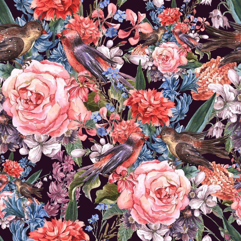 Bloemen naadloze waterverfachtergrond vector illustratie