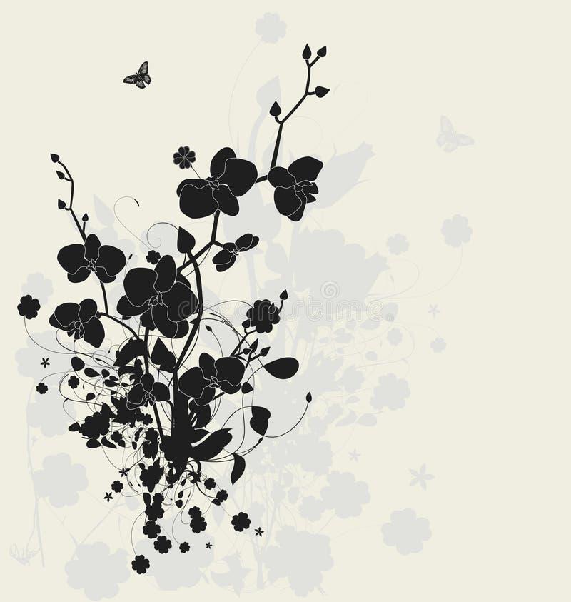 Bloemen ontwerp met orchideeën stock illustratie
