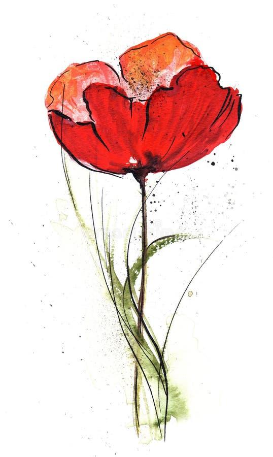 Bloemen Ontwerp met papaverbloem vector illustratie