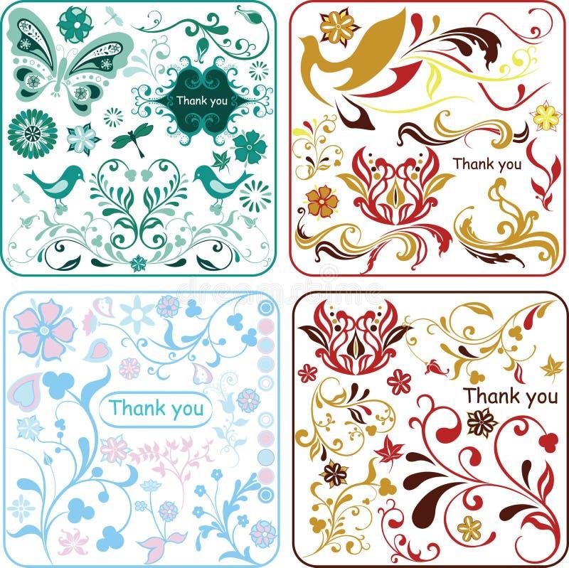 Bloemen ontwerpelementen 1/2 vector illustratie