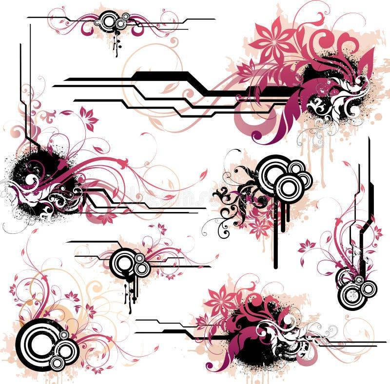 Bloemen ontwerpelementen stock illustratie