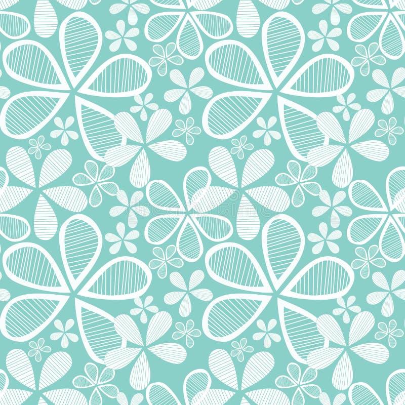 Bloemen op Blauwe Naadloze Achtergrond royalty-vrije illustratie