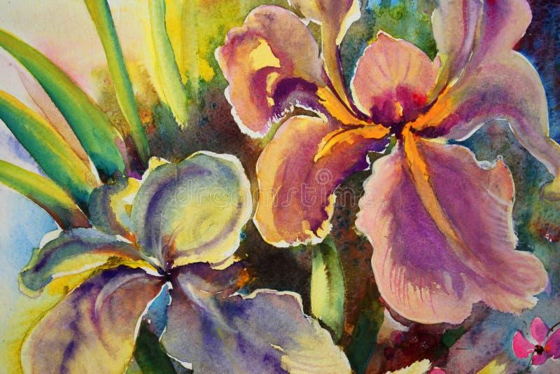 Bloemen op canvas stock illustratie