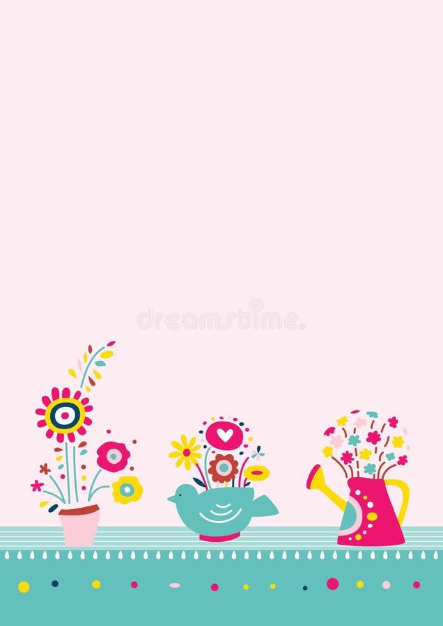Bloemen op de Achtergrond van Vazen stock illustratie