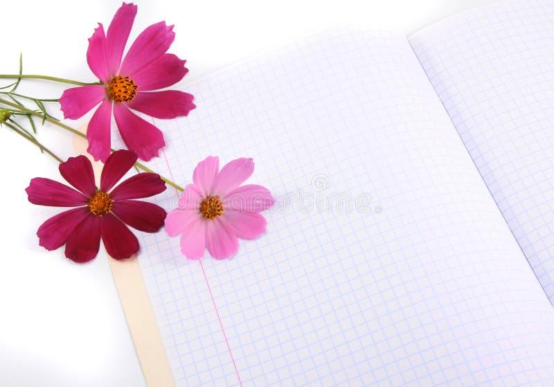 Bloemen op een schrijven-boek royalty-vrije stock afbeeldingen