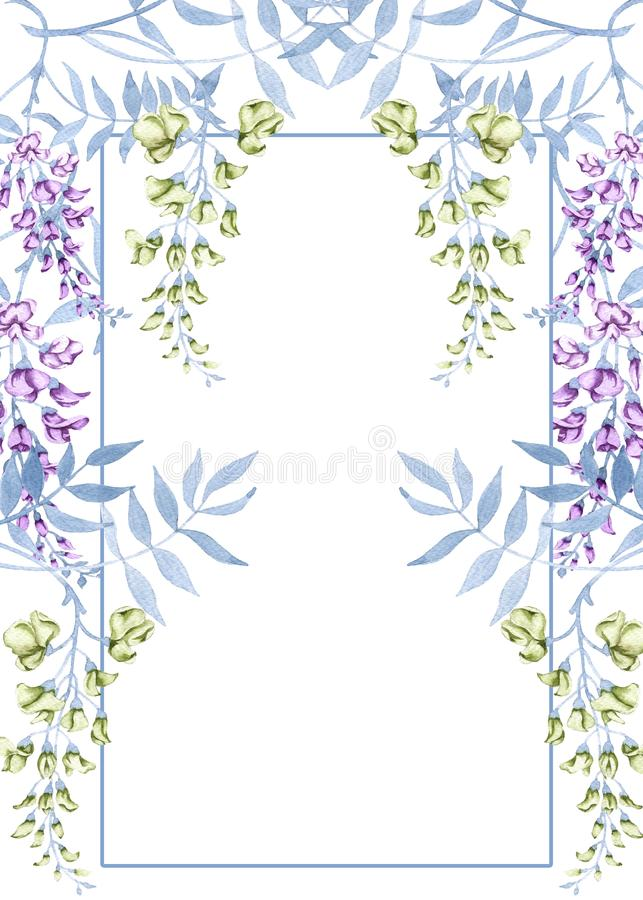 Bloemen op een tak van een wisteria De kaart van het groethuwelijk vector illustratie
