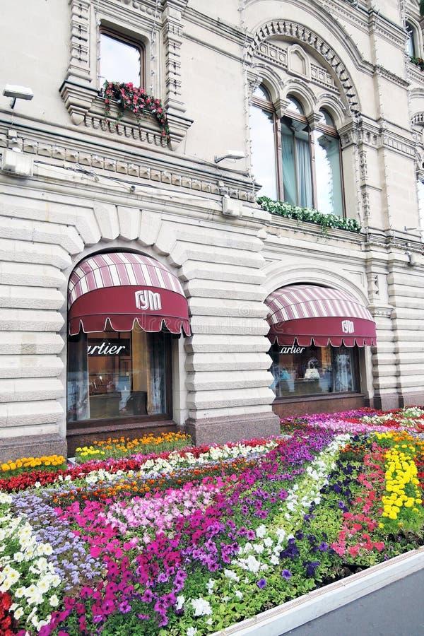 Bloemen op het Rode Vierkant in Moskou stock fotografie
