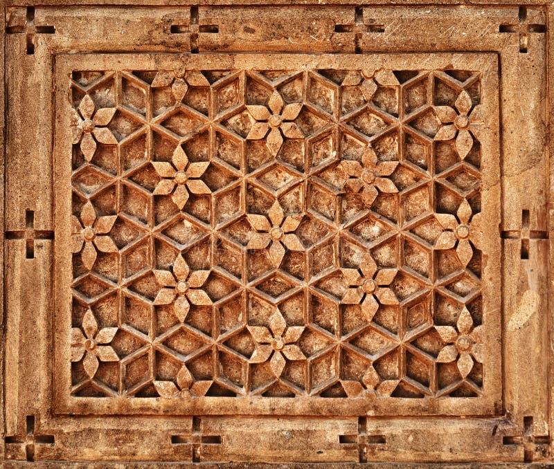 Bloemen ornament op steenmuur in Jaisalmer, India royalty-vrije stock foto's