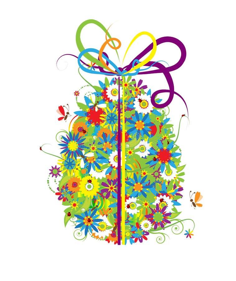 Bloemen paasei op wit voor uw ontwerp vector illustratie