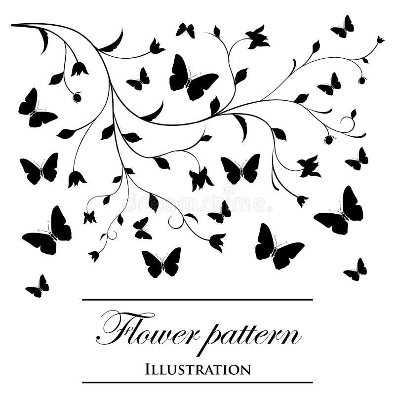 Bloemen patronen op een witte achtergrond royalty-vrije illustratie