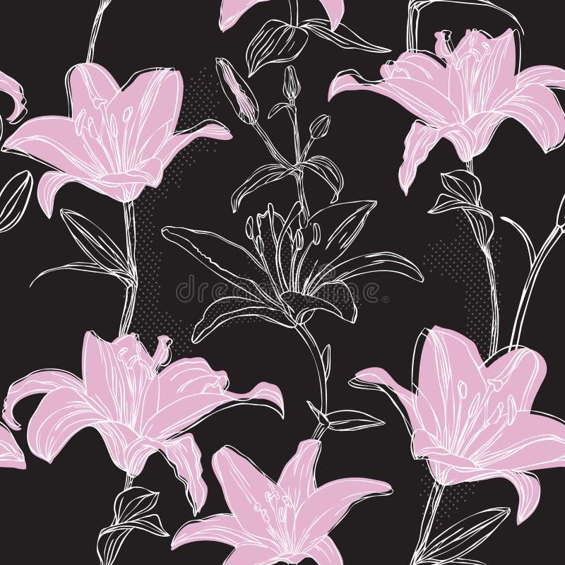 Bloemen patroon met lelie royalty-vrije illustratie