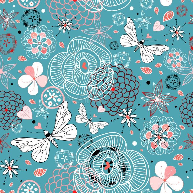 Bloemen patroon met vlinders vector illustratie