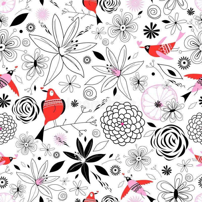 Bloemen patroon met vogels in liefde royalty-vrije illustratie
