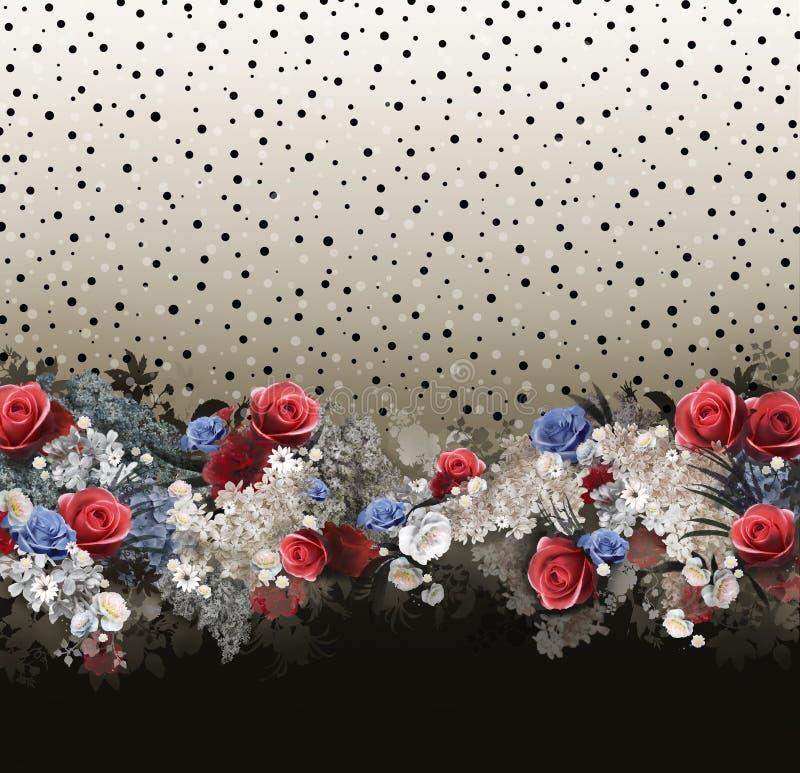 Bloemen patroon op naadloze doek Het boeket van de bloem Stof stock illustratie