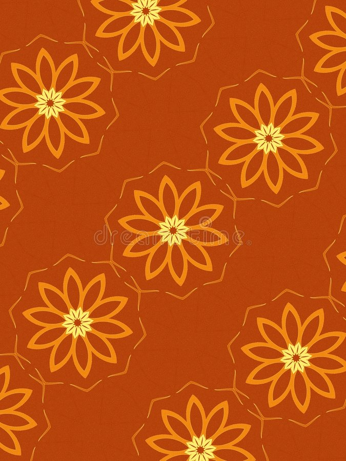 Bloemen Patroon in Sinaasappel vector illustratie