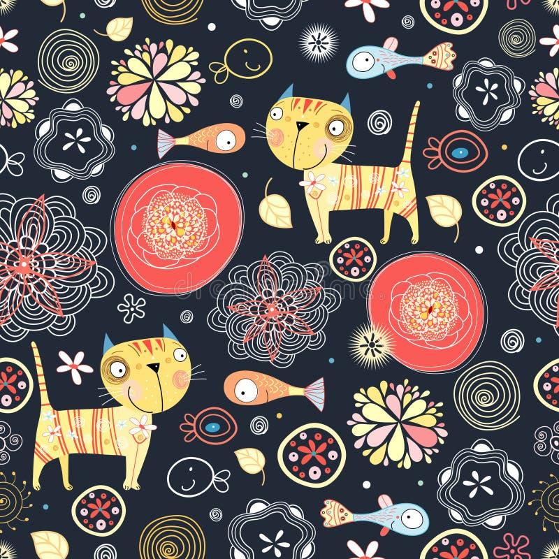 Bloemen patroon van de katten en de vissen stock illustratie