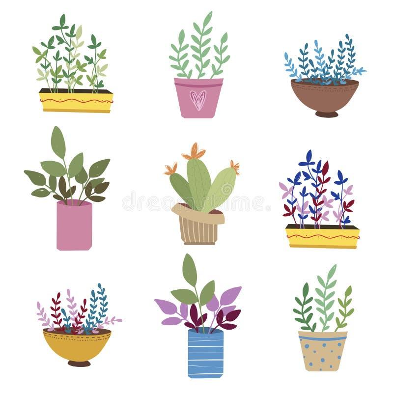 Bloemen in potten royalty-vrije illustratie