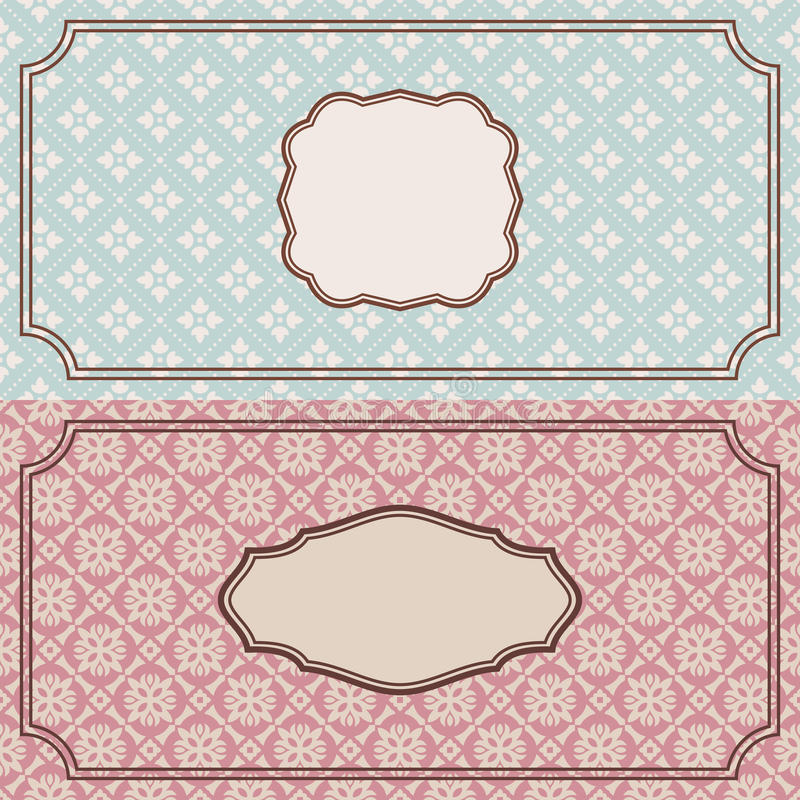 Bloemen retro frames vector illustratie