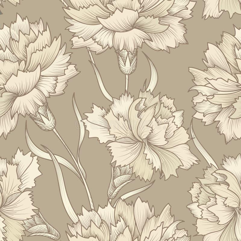 Bloemen retro naadloos patroon De achtergrond van de bloem Bloemenseamles royalty-vrije illustratie