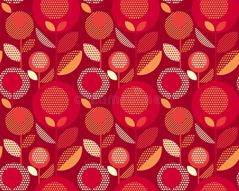 Bloemen retro patroon van luxe het rode jaren '60 vector illustratie