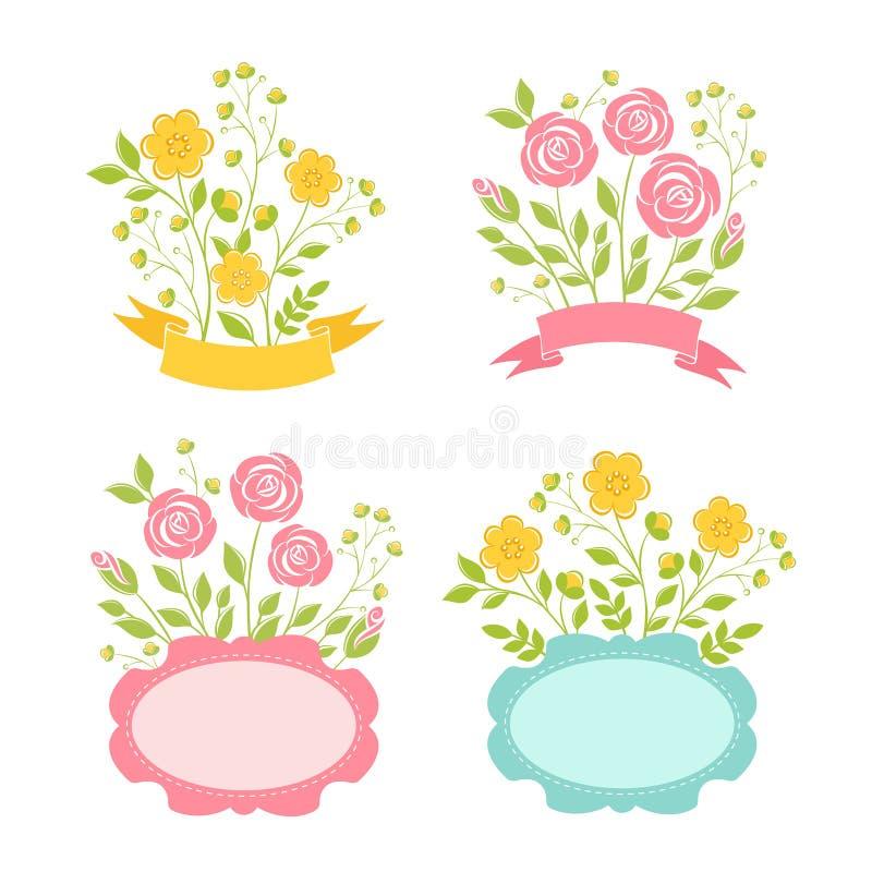 Bloemen romantische geplaatste kaders royalty-vrije illustratie