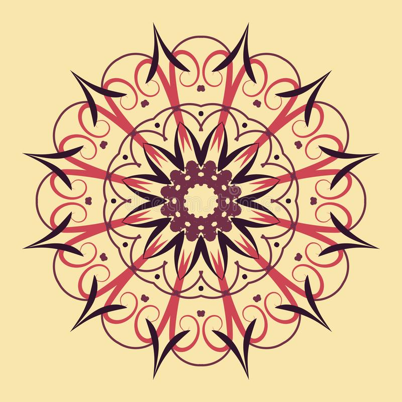 Bloemen rond decoratief symbool Etnische decoratieve elementen abstracte achtergrond royalty-vrije illustratie