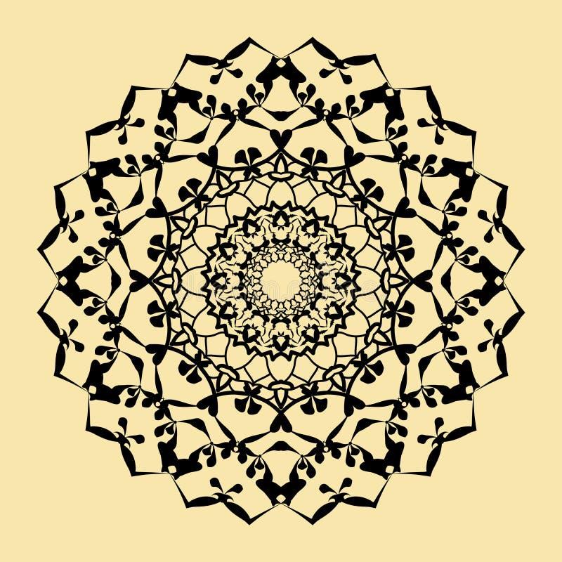 Bloemen rond decoratief symbool Etnische decoratieve elementen abstracte achtergrond stock illustratie