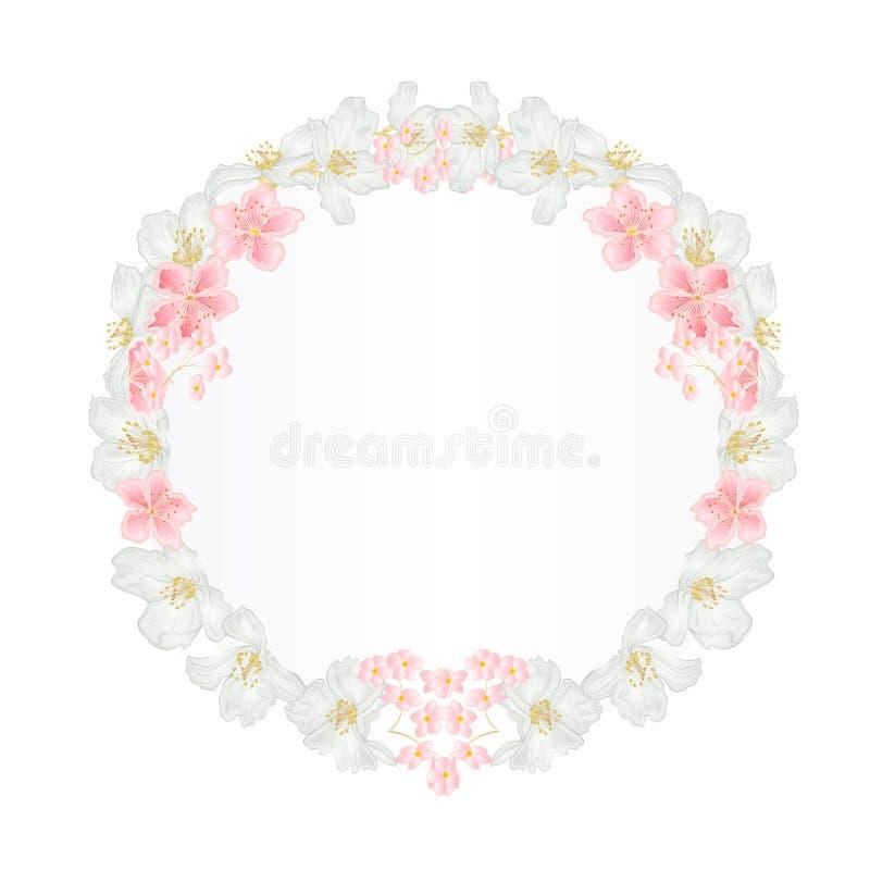 Bloemen rond kader met Jasmijn en sakura uitstekende feestelijke illustratie als achtergrond vector illustratie