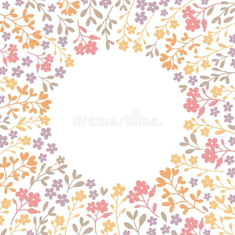 Bloemen rond kader van bloemen op witte achtergrond Vectorillust vector illustratie