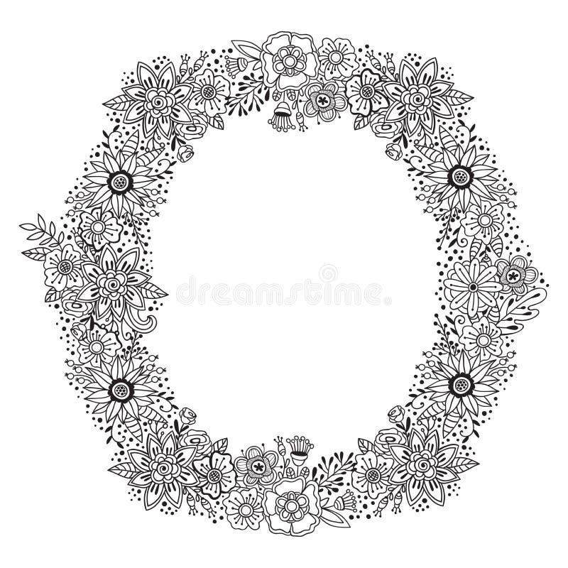 Bloemen rond ornament met het zwart-witte kader van de decoratiekroon De zomer of de herfstbloemen en kruiden geïsoleerd ontwerp  vector illustratie