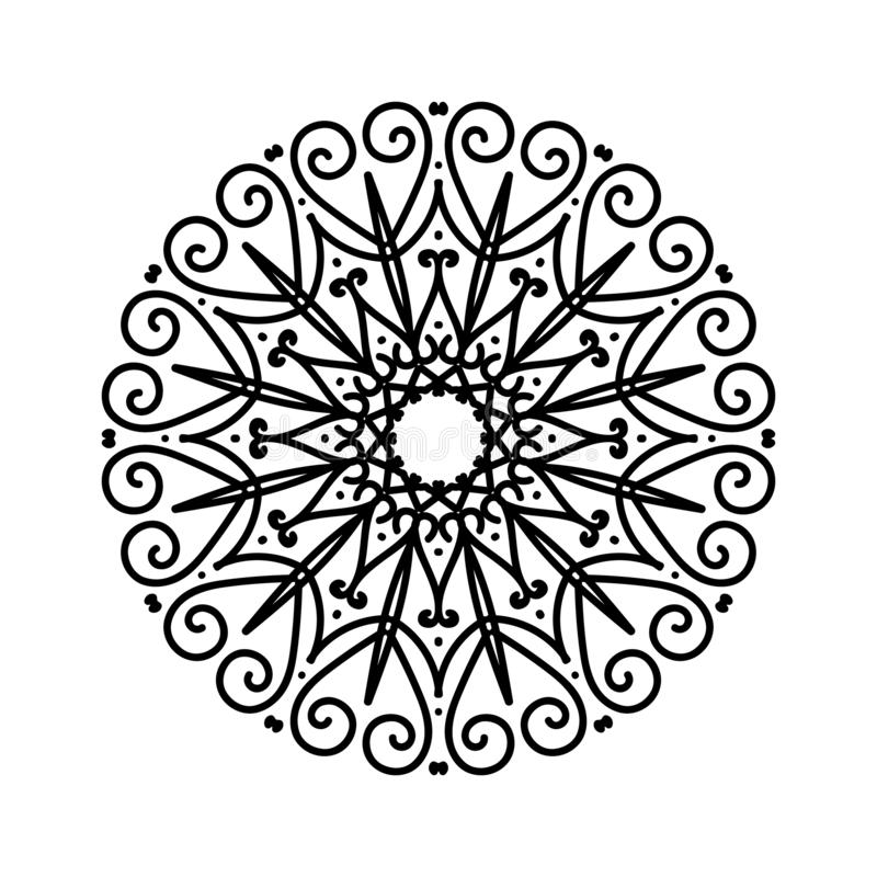 Bloemen ronde hennaschets Etnische decoratieve elementen abstracte achtergrond vector illustratie