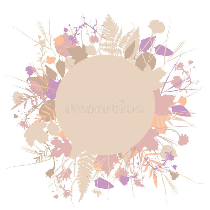 Bloemen ronde kaderkroon van bloemen, natuurlijke de bloemenelementen van ontwerpbladeren Het ontwerp van de de lentezomer voor u stock illustratie