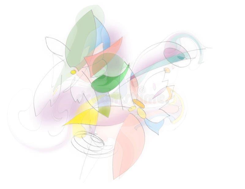 Bloemen in Roze, Geel en Groen - Abstracte Illustratie royalty-vrije illustratie