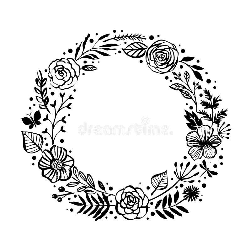 Bloemen rustieke takken, bloemen en bladerenkroon voor huwelijk binnen royalty-vrije illustratie