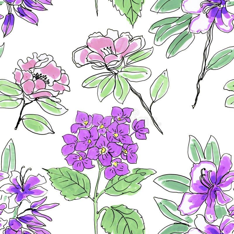 Bloemen samenstelling Tropische bloemen en bladeren royalty-vrije illustratie