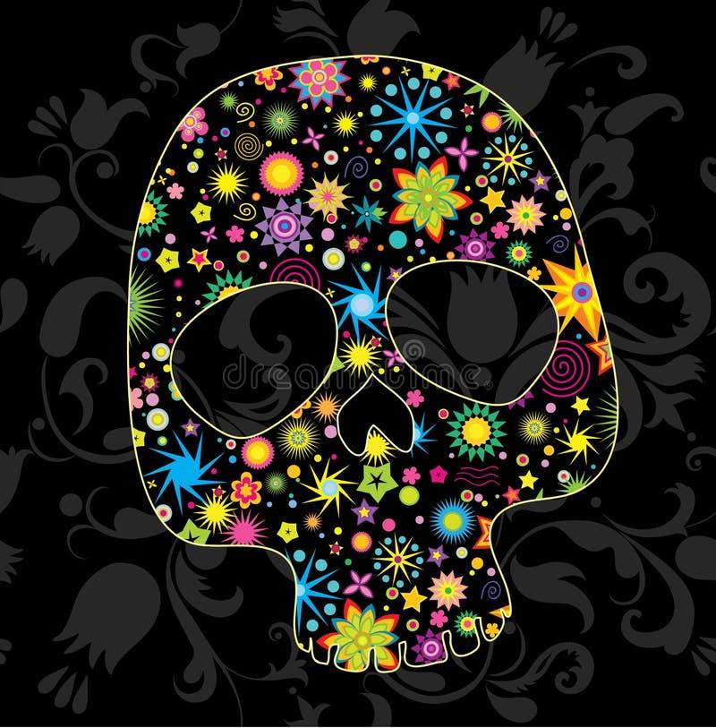 Bloemen schedel royalty-vrije illustratie