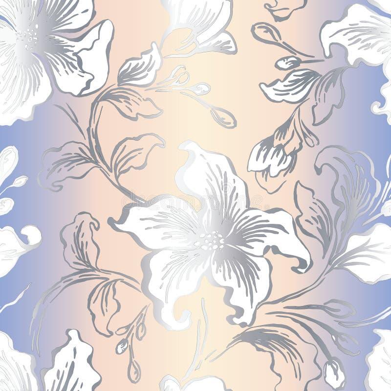Bloemen seFloral naadloos patroon Abstracte overladen bloemen uitstekende textuur Decoratieve siertextiel, behang, het verpakken stock illustratie