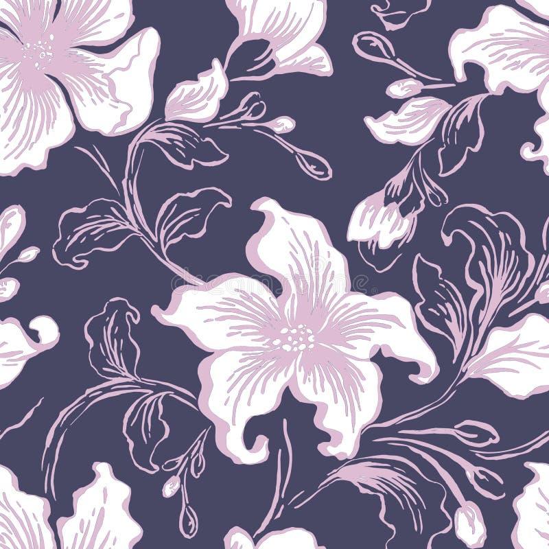Bloemen seFloral naadloos patroon Abstracte overladen bloemen uitstekende textuur Decoratieve siertextiel, behang, het verpakken royalty-vrije illustratie
