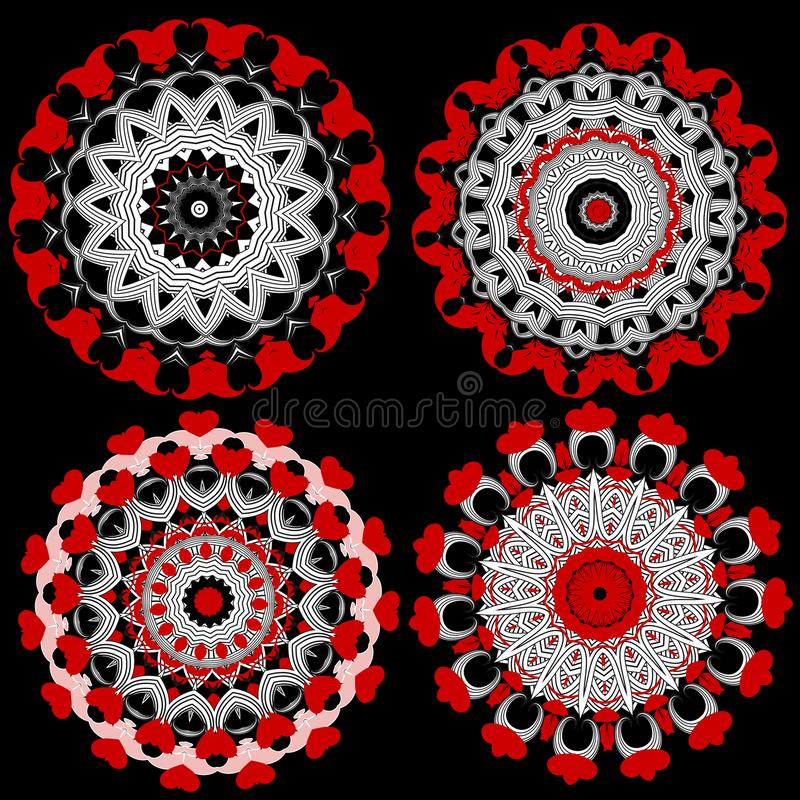 Bloemen sier ronde geplaatste mandalapatronen Vectorbloemeninzameling De harten van de liefde Het ontwerp van tracerymandalas van vector illustratie