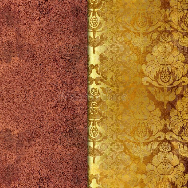 Bloemen sjofele gouden gekleurde achtergrond stock illustratie